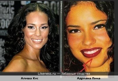Адриана Лима с карими линзами похожа на Алишу Кис