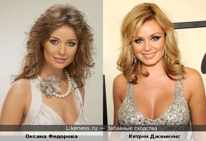 Сходство Оксаны Федоровой с заграничной Кетрин