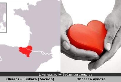 Территория распространения языка басков по форме похожа на сердце