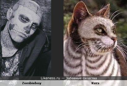 Zombieboy похож на раскрашенного кота