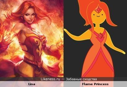 Lina из Dota 2 похожа на Flame Princess из Adventure Time