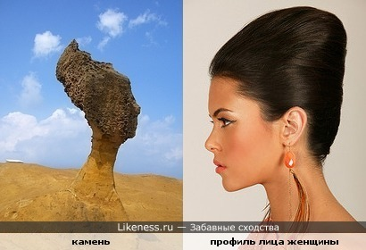 камень в пустыне похож на лицо девушки