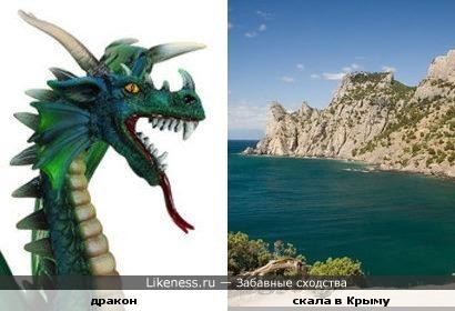 Очертания скалы в Крыму напоминают драконью морду