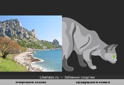 Очертания скалы напоминают кошку, крадущуюся к добыче
