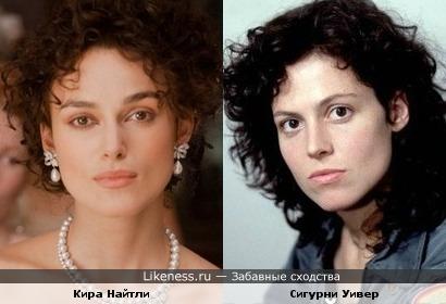 Кира Найтли в образе Карениной и Сигурни Уивер в молодости