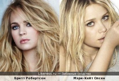 Бритт Робертсон похожа на Мэри-Кейт Олсен