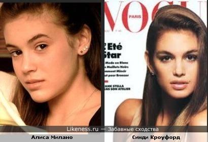 Молодые Синди Кроуфорд и Алиса Милано похожи как сестры