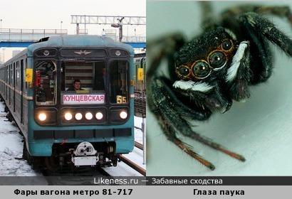 Фары вагона метро похожи на глаза паука
