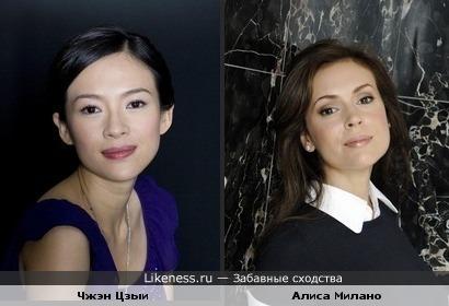 Актрисы Чжен Цзыи и Алиса Милано похожи