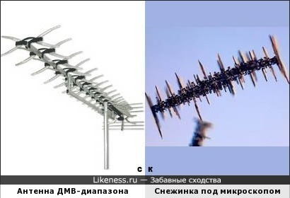 Антенна ДМВ-диапазона и Снежинка под микроскопом