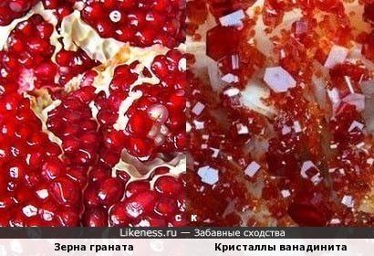 Зерна граната и Кристаллы ванадинита