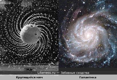 Крутящийся мяч похож на галактику