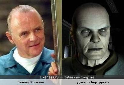 Энтони Хопкинс похож на доктора Бертругера, главного злодея игры Doom-3