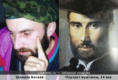 Шамиль Басаев и неизвестный мужчина с картины Пармиджанино