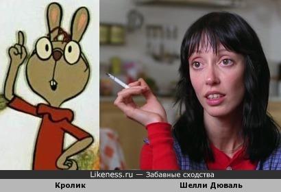 Шелли Дюваль в фильме «Сияние» и гостеприимный Кролик из мультфильма «Винни-Пух идёт в гости»