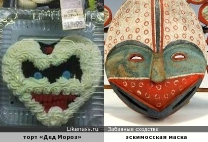 Эскимосская маска для ритуала, связанного с возрождением животных, и тортик «Дед Мороз»