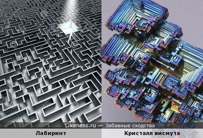 Кристалл висмута напоминает лабиринт