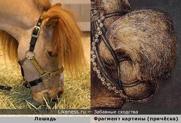 Причёска на картине Антонио дель Поллайоло «Женский портрет» напоминает голову лошади