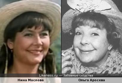 Нина Маслова и Ольга Аросева. Актрисы.