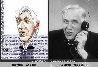 Шарж на Джулиана Ассанжа напомнил Корнея Ивановича Чуковского