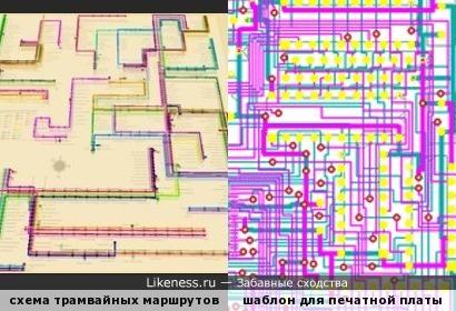 3D-схема трамвайных маршрутов Москвы напоминает шаблон для печатной платы