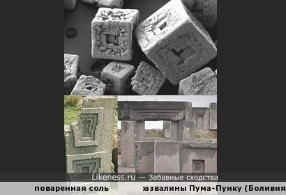 Кристаллы соли под микроскопом напомнили каменные блоки храмового комплекса Пума-Пунку