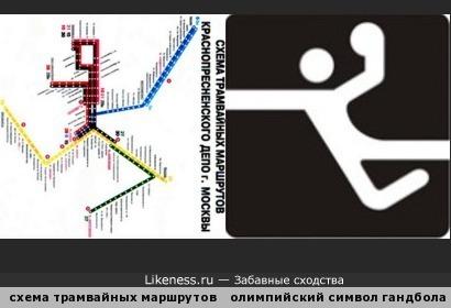 Перевёрнутая схема трамвайных маршрутов похожа на олимпийский символ гандбола