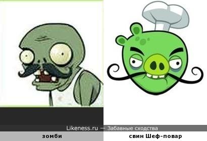 """Зомби против """"Angry Birds"""": усатые злыдни с нездоровым цветом... э-э... лица"""