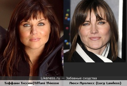 На этом фото Тиффани Тиссен(Tiffani Thiessen) похожа на Люси Луолесс (Lucy Lawless)